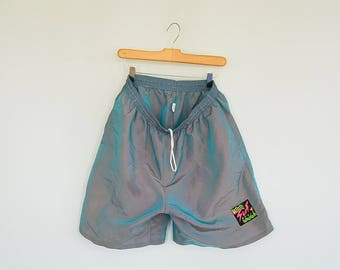 Iridescent Surf Style Beach Shorts Long Boarding Shorts Elastic Drawstring Waist Color Changes Iridescent Nylon Surf Style Shorts  Size XL