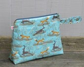Fox & Deer Blue Extra Large Wash Bag by Susie Faulks/ Wash Bag/ Oilcloth Bags/ Made in England/ Original Print
