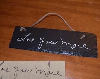 handwriting.  LOVE.  keepsake.  memorial.  plaque.
