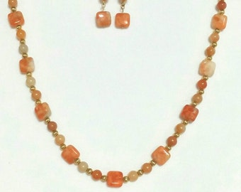 Red Adventurine Necklace and Earring Set