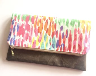 Watercolor print clutch, fabric and waxed canvas clutch, spring bag, foldover, zipper clutch