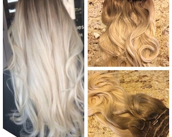 Sale 5 star ombre balayage cuticle remy human hair sew in sale 5 star ombre cuticle remy human hair clip in weft hair extensions dark roots pmusecretfo Choice Image