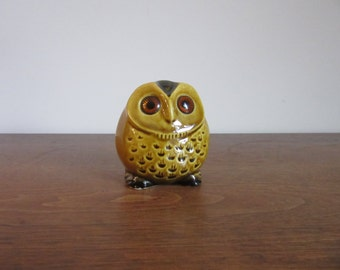Roly Poly Little Roselane Owl Figurine, Small Vintage Ceramic Owlet, Sparkler Eyes, Mustard Yellow,Signed Pottery,Retro Owl Decor,Owl Kitsch