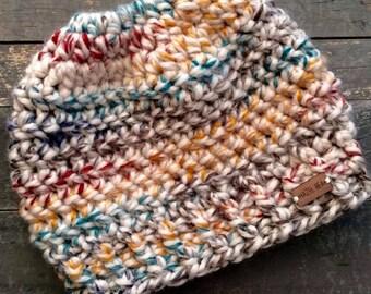 Crochet Messy Bun Hat, Bun Hat, Ponytail Hat, Topknot Hat, Messy Bun Toque, Knit Hat, Women's Hat, Children's Hat, Winter Hat, Wool Hat