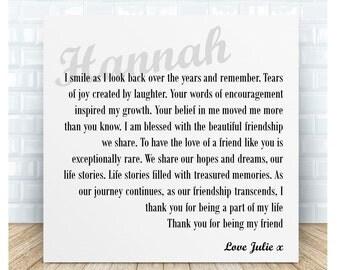 Friendship Poem Ceramic Plaque. Personalised Gift