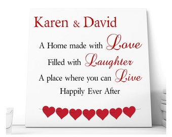 Love Laughter Live Message Ceramic Plaque.  Personalised