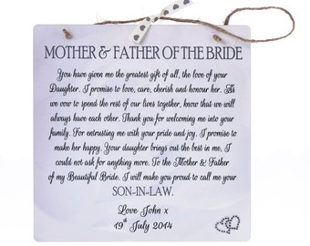 Mother & Father of Bride/Groom Personalised Plaque