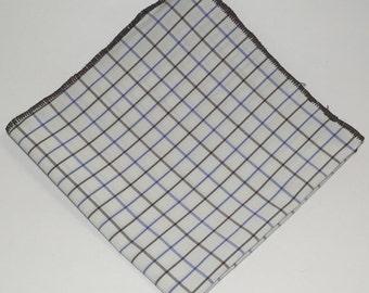 Blue-Brown Tattersall Pocket Square