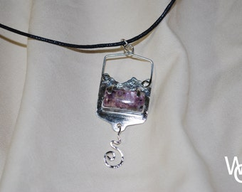 Purple-Mountain Sterling Silver Pendant with Cord