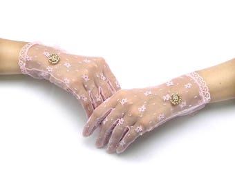 Pink Lace Gloves, Finger Gloves, Pink Gloves, Sheer Gloves, Wedding Gloves, Tea Party Gloves, Finger Gloves with Rhinestone Jewelry