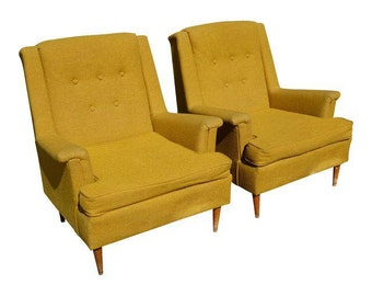Vintage Pair of Mid Century Modern Gold Tufted Back Arm Chairs