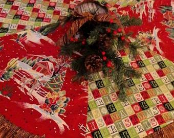 Christmas Tree Skirt- Cowboy Christmas Tree Skirt- Western Style Christmas Tree Skirt-Country Christmas Tree Skirt- Rustic Tree Skirt