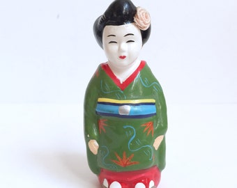 Vintage Geisha Ceramic Figurine Salt or Pepper Shaker with Fabric Obi Attached and Fabric Rose in Hair