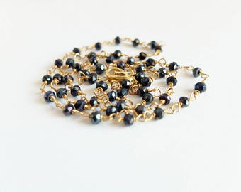 gold filled Rosary Necklace Black Spinel  gemstone necklace, gold filled handcrafted,rosary style, black spinel necklace, black gemstone