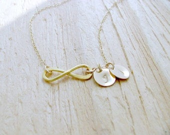 14k gold filled infinity CHOKER monogram necklace personalized hand stamped initials monogram jewelry initials necklace bridesmaid gift