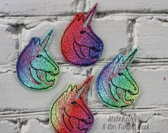 "Fancy Unicorn - Unicorn -   2"" Feltie Design - 4 x 4 single, 4 x 4 grouped & 5 x 7 grouped - DIGITAL Embroidery DESIGN"