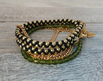 5 times Wrap Bracelet, Green Crystal beaded with Gold chain weaved together with Black  cotton waxed cord