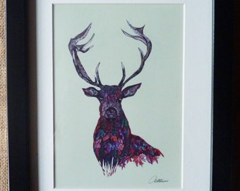 Stag Picture Stag Painting Stag Wall Art Stag Original Artwork Picture-'Fall Stag' autumnal leaves design a lovely strong picture great gift