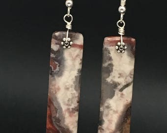 Laguna Lace Agate Earrings, Agate Earrings, Gemstone Slice Earrings, Stone Slice Earrings, Stone Slab Earrings, earrings under 70