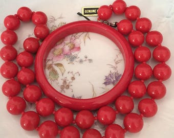 Red Lucite Bead Necklace and Red Lucite Bangle Bracelet