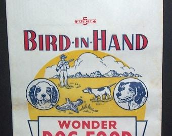 Vintage unused Bird-In-Hand Wonder dog food bag