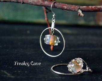 Artisan lampwork earrings ~ lampwork hoop earrings, shimmering jewelry, silver plated earrings, hoop earrings, tender earrings