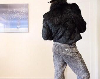 Beautiful Black Rabbit fur soft jacket
