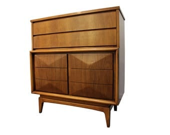 Mid-Century Danish Modern Walnut Diamond Front Tall Chest by United #12