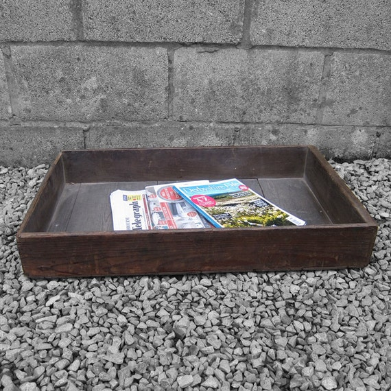 Rustic Pine Crate Box Display Tray Storage