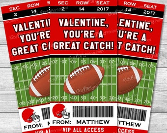 Football Valentines Day Card, Personalized Kids Valentines, Football Valentine Cards, Printable Sports Valentines, Classroom Class Boy DIY