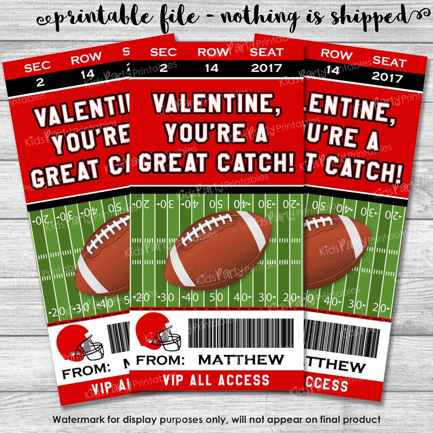 Football Valentines Day Card Personalized Kids Valentines – Football Valentines Day Cards
