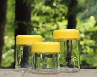 Set of Three Vintage Heller Glass Jars with Yellow Lid / Heller Yellow Lidded Canisters / Yellow Heller Jars / Yellow Kitchen Canister