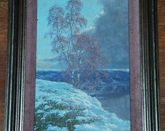 Oil on Board of a Snowy Landscape above a Lake