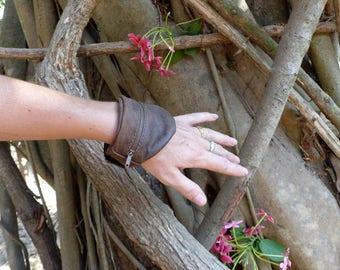 Wallet brown leather wrist cuff, bracelet, Velcro
