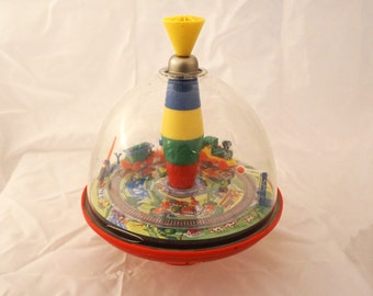 Vintage 1960s Toy Train Spinning Top Lorenz Bold Zirndorf