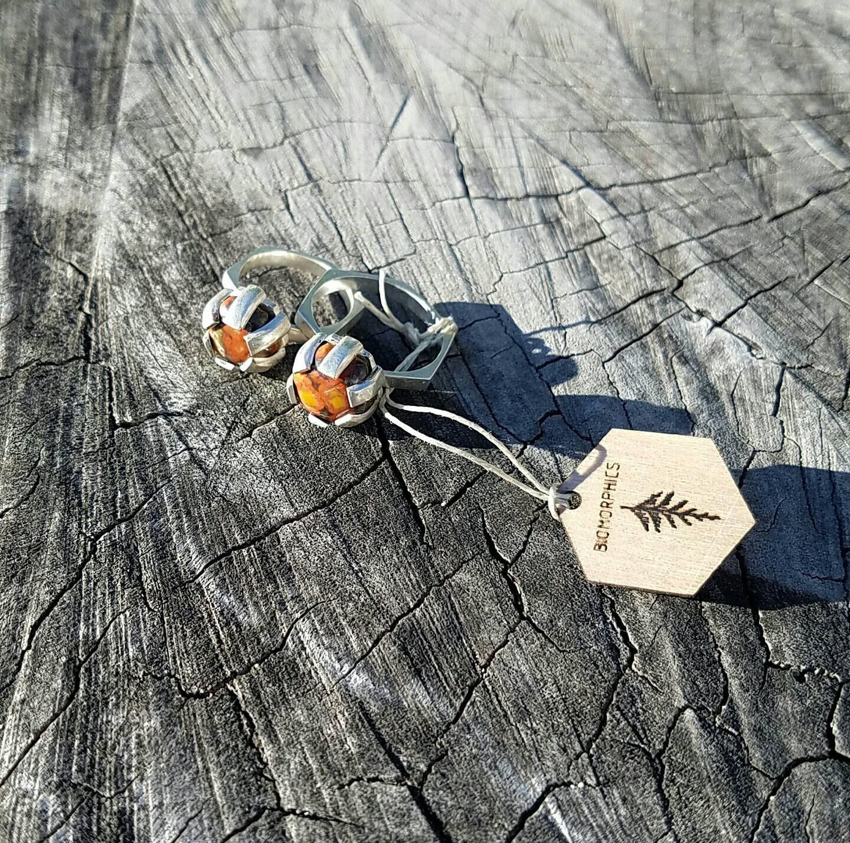 Sterling Silver Hexagon Morgan Hill Poppy Jasper Ring