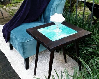 Side Table-Wood Top-Light Blue Art Glass-Dark Brown Distressed Barn Wood Finish-Mid-Century