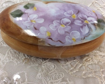 2 x 3 egg style covered box I painted delicate lavender flowers on the top-one of a kind gift