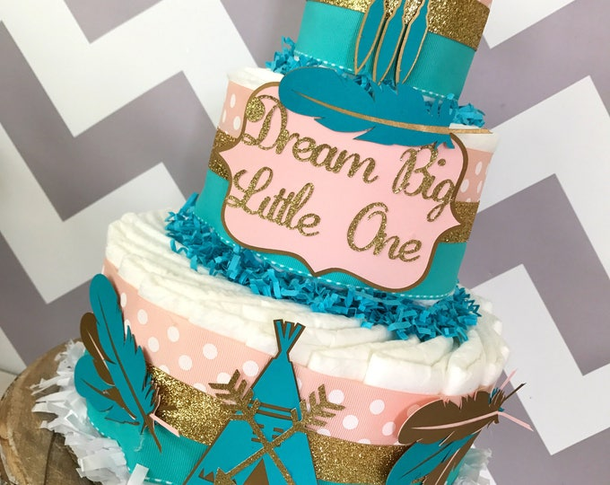 Featured listing image: Dream Big Little One Diaper Cake in Teal, Coral and Gold, Tribal Baby Shower Centerpiece, Boho Baby Shower