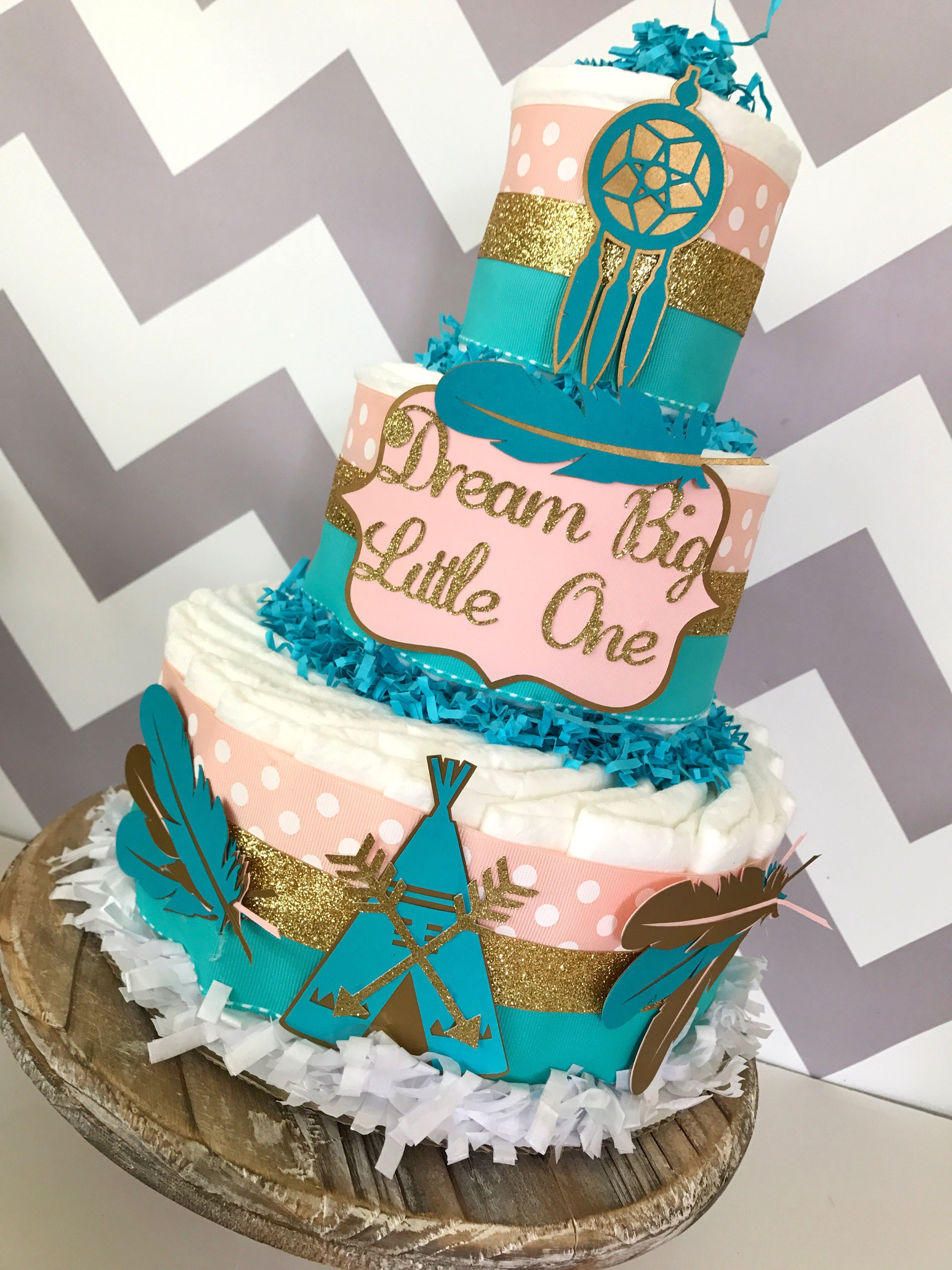 Dream Big Little e Diaper Cake in Teal Coral and Gold Tribal