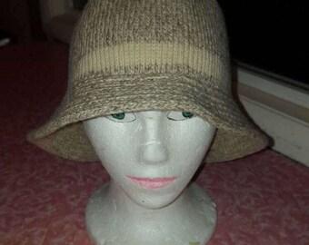 Vintage Wool Blend Bucket Hat Oatmeal Color