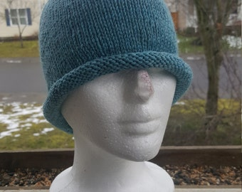 Knit woman's rolled brim beanie, knit with 100% wool, winter hat, beanie blues