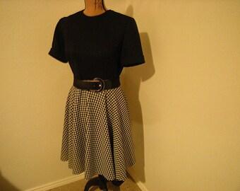 vintage dress-little black dress-belted-polyester-short sleeves-size 8-retro-