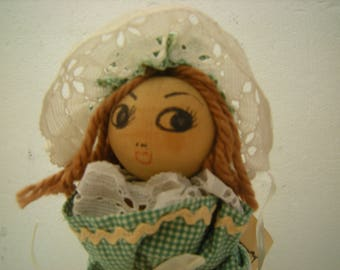 Lit'l cotton Ginny doll-wooden doll-handmade-cotton mill spool-handcrafted dress -old fabric and lace-collection-shelf decor