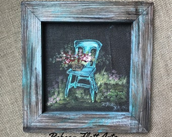 Vintage chair hand painted on window screen, porch decor, indoor and outdoor Art