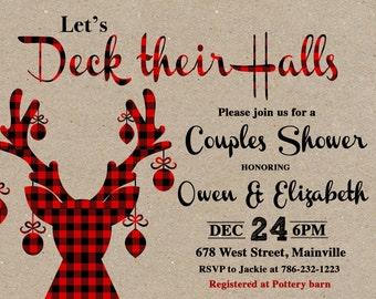 Couples Shower Invitation, Christmas Shower, Deck Their Halls Shower, Bridal Shower, Deer, Plaid, Wedding Shower - Printable or Printed