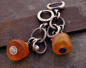 SALE 10 - 20 % OFF use the code • Raw Amber earrings • raw silver earrings • oxidized sterling siver •  chain modern earrings