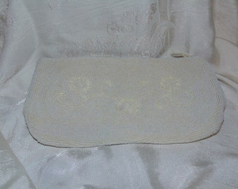 Vintage White Beaded Zipper Close Clutch *Free US Shipping*