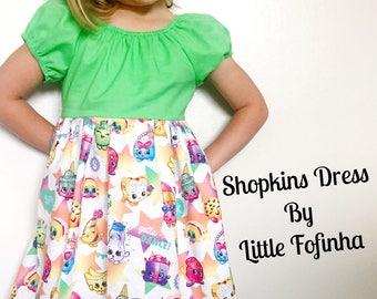 Shopkins dress - size 2t, 3t, 4t, 5, 6, 7, 8, girls shopkin dress, green dress, Shopkins birthday dress, girls party dress, toddler dress