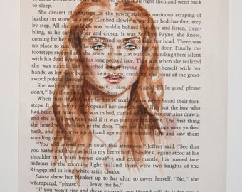 ORIGINAL Sansa Stark Watercolor Book Illustration A Game of Thrones A Song of Ice and Fire Page Painting